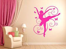 """Ballerina and Butterflies Dancing Girls Bedroom Nursery Vinyl Wall Decal 22""""x19"""""""