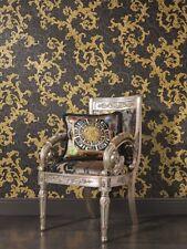 Grey Gold Versace Designer Wallpaper Damask Vinyl Swirl Floral Textured Embossed