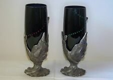 2 Vintage Spell Casting Wizard Pewter Based Dark Blue Glass Gemmed Wine Glasses