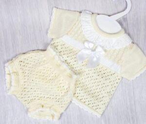 Spanish Knitted Baby Girls Lemon Romper Jam Pants Newborn 0-3 3-6 Mth Lemon