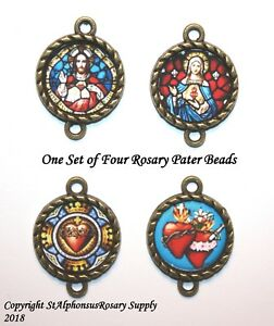 Sacred Heart | Bronze Our Father ROSARY Image Bead Parts | Choice of 1 or a set!