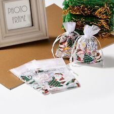 100pc Merry Christmas Organza Bags With Cord White For Gift Candy Jewelry 9x13cm