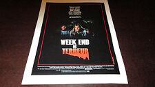 Affiche affichette Cinéma original Week End de Terreur 1986