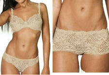 Sand Beige Sheer Underwired Bra, Thong, Boyshorts OR Briefs Floral Lace Lingerie