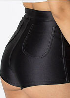 WOMENS/LADIES HIGH WAISTED AMERICAN SHINY DISCO  SHORTS/HOT PANTS
