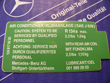 Genuine Mercedes air condition sticker R134a for W126, W124, W201