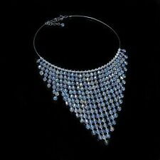 GORGEOUS .925 Sterling Silver Natural White Australian Crystal Choker Necklace