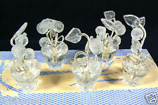 Vintage set of 5 Czechoslovakia Glass flower pot Clear table  Place Card Holders