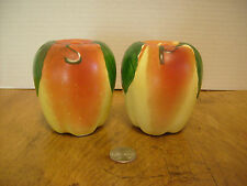 "Hull handpainted Apple Salt & Pepper Shakers 1950's 3 3/4"" tall     RB-3b"