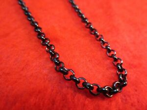 28 INCH BLACK STAINLESS STEEL 4MM ROLO  LINK ROPE CHAIN NECKLACE  BLACK