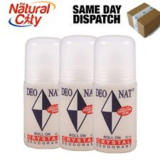 3 x Deonat Natural Crystal Roll On 65g ( Ideal for Sensitive Skin ) No stain