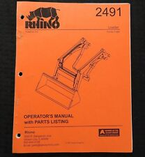GENUINE RHINO 2491 FRONT TRACTOR LOADER OPERATORS MANUAL & PARTS CATALOG