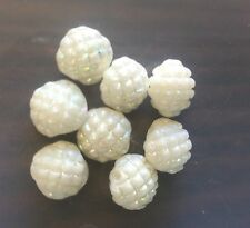 Vintage Japan White AB Luster Grenade Texture 2 Sided Coin Lentil Glass Bead Lot
