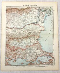 1907 Antique Map of The Balkans Bulgaria Romania Turkey Gotha Justus Perthes