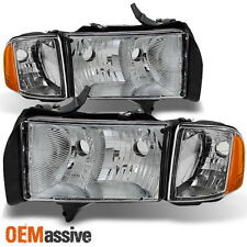 1999-2002 Dodge Ram 1500 Pickup Sport Headlights Replacement Pair w/Corner Lamps
