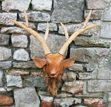 Wooden Deer Head Made From Teak Wood Chips 80 cm Life Like Wall Hung