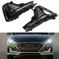 Front Bumper Left Right LED Fog Lights Lamp DRL Fit For 2018-2019 Hyundai Sonata