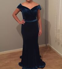 Stunning Velvet Turquoise/Teal Evening Dress - NEW without Tags - Size 12/14 UK