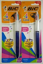 2x Bic Fashion 4 Color Pen Special Edition With Charm Purple Heart Medium 10mm