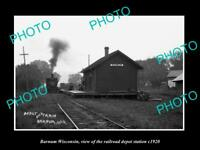 OLD POSTCARD SIZE PHOTO OF BARNUM WISCONSIN THE RAILROAD DEPOT STATION c1920