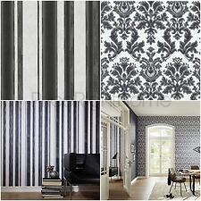 P&S Textured Vinyl Stripe/Damask Black Wallpaper