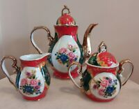 Vintage Teapot Creamer sugar pot red with floral design Tea Set