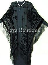 Caftan Duster Fringe Jacket Kimono Opera Coat Black Burnout Velvet Maya
