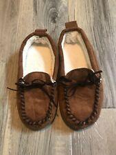 Gap Kids Boys Moccasin Indoor Slippers Size 1 / 2 Brown
