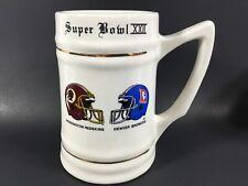 NFL Super Bowl XXII 22 Redskin Broncos 1988 Beer Stein Mug White Ceramic Vintage