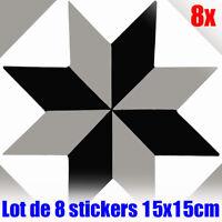 Lot de 8 Stickers autocollants vinyle mural Carreau de ciment décoratif mosaique