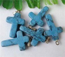 5Pcs Blue Turquoise Cross Pendant Bead 26x17x5mm HP1529