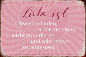 Liebe ist ... Blechschild Metallschild Schild gewölbt Tin Sign 20 x 30 cm R0487