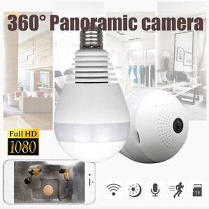 360 degree Panoramic 1080P Spy Hidden wifi Camera Light Bulb Security IP Camera