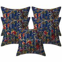 Indian Decorative Sofa Cushion Covers 16x16 Printed Kantha Cotton Bird Set Of 5