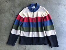 Blair Multi-color Color-block Zip Cardigan Sweater sz Medium