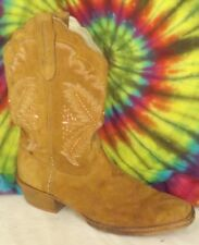 size 9 ladies dark tan/light brown suede leather STETSON cowboy boots Eur 40.5