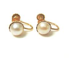 VTG 10K Gold Screw Back Faux 8mm PEARL EARRINGS Adult or Children Scalloped Cups