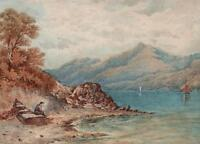 FIGURE IN MOUNTAIN LAKE LANDSCAPE Victorian Watercolour Painting c1900
