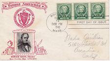 POSTAL HISTORY - CROSBY CACHET 1940 FAMOUS AMERICANS HORACE MANN EDUCATOR