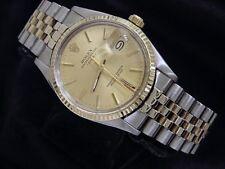 Rolex Date Mens 2Tone 14K Yellow Gold & Steel Watch Jubilee Band Champagne 15053