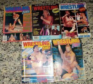 WRESTLING FURY + POWER Magazine Lot of 5 Dusty Rhodes WCW WWF WWE ECW 1987-1989
