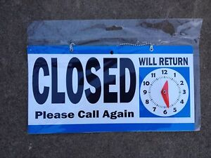 QUALITY OPEN / CLOSED DOOR SIGN QUALITY - WILL RETURN CLOCK HANGING BRAND NEW