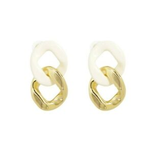 Gold White Double Chunky Chains Acrylic Drop Earrings Fashion Party Woman Girl