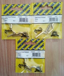 3x Cleat Hook Brass 75mm free delivery #843N