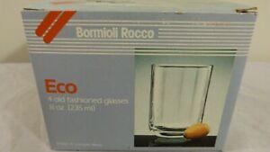 Bormioli Rocco Eco Set of 4 Old Fashioned 8 oz Glasses Made in Italy New in Box
