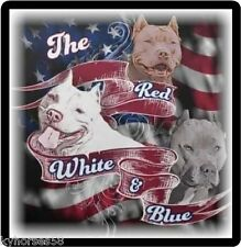 Dog Humor The Red White & Blue Pitbulls Refrigerator Magnet