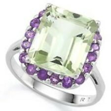 GREEN AMETHYST & PURPLE AMETHYST SILVER RING 16.50  CWT LARGE SETTING EARTH MINE