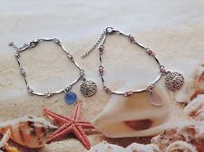 RHINESTONE  BRACELET PINK BLUE SEAGLASS SAND DOLLAR CHARM BEACH WEAR JEWELLERY