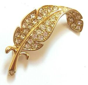 VINTAGE 80's DIAMANTE FEATHER BROOCH Crystal ROLLED GOLD PIN ~ UNWORN