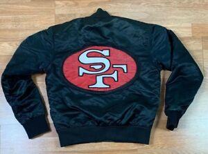 VTG Starter San Francisco 49ers NFL Satin Jacket Men's SZ S Huge Logo Distressed